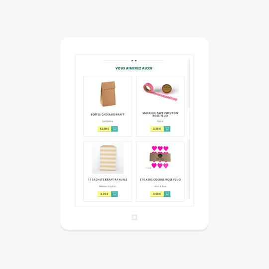 Affichage du site Web de Rose Caramelle sur tablette