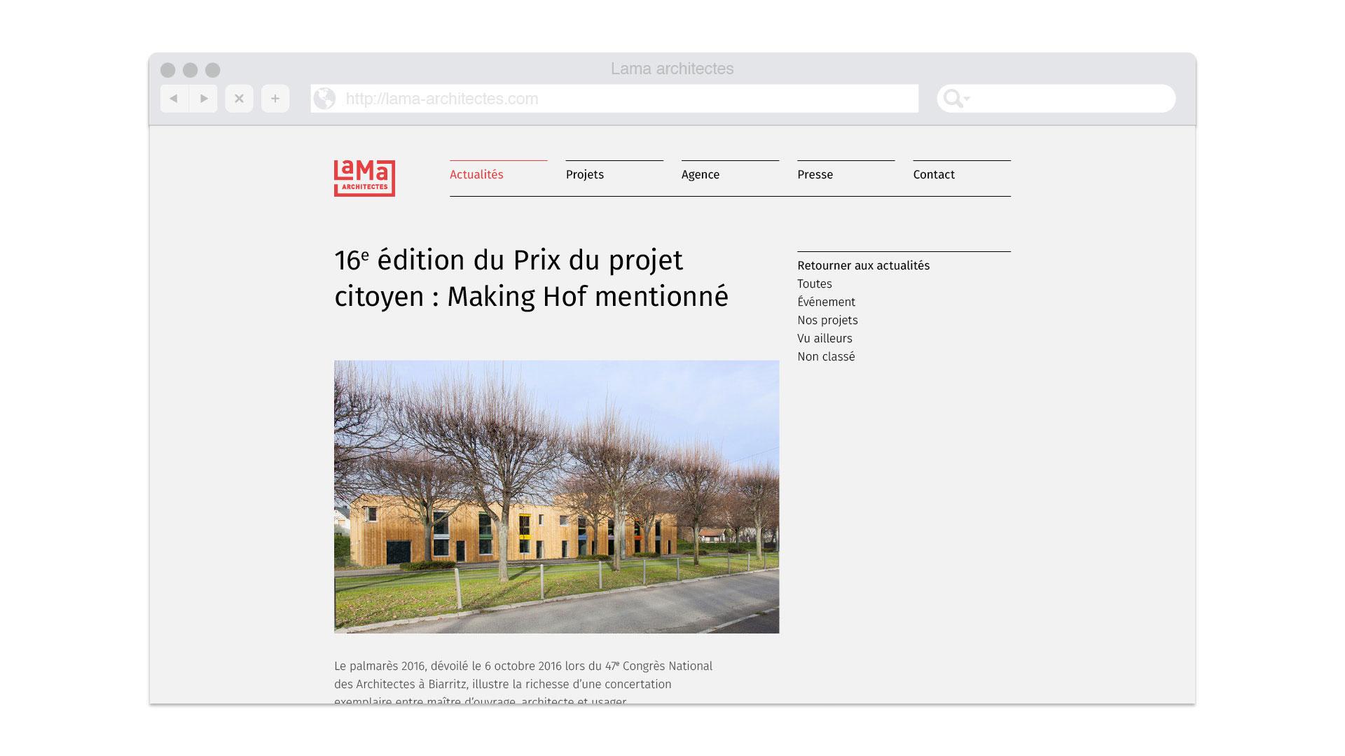 Page projet du site Web