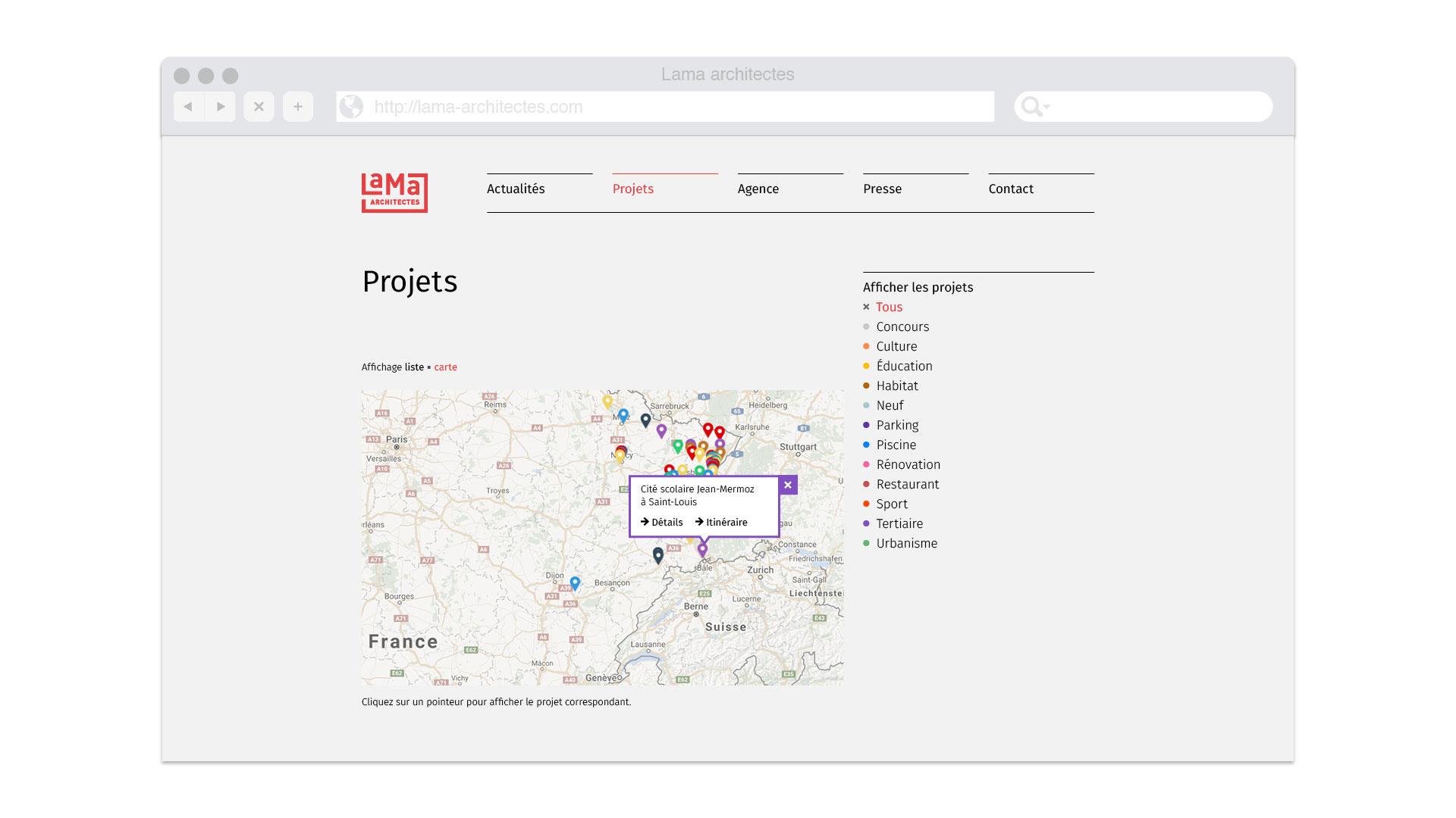 Affichage des projets du site Web sur carte