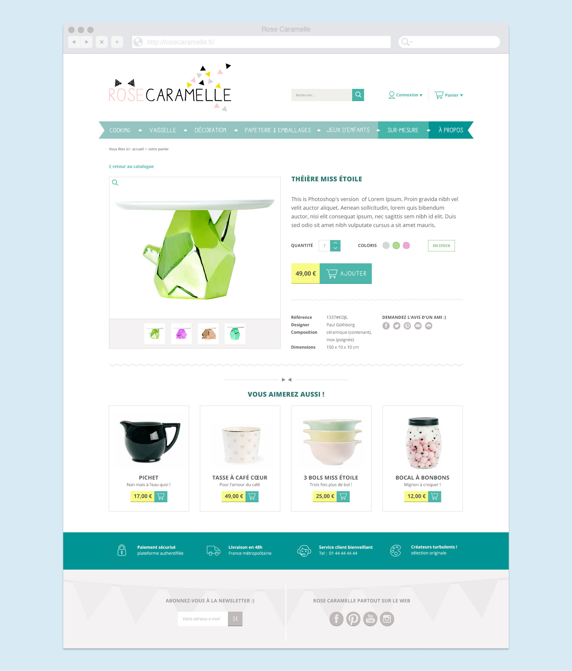 Page produit du site Web